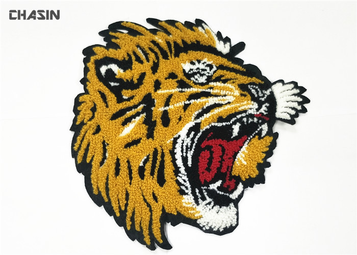 Animal Tiger Chenille Embroidery Patches No Minimum Merrow Border