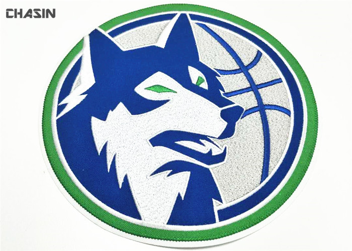 Large Clothing Embroidery Patches Heat Seal Wolf Logo Diameter 9 Inches